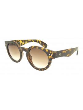 Judie Round Spring Hinge Vintage Remade Sunglasses, Demi Brown