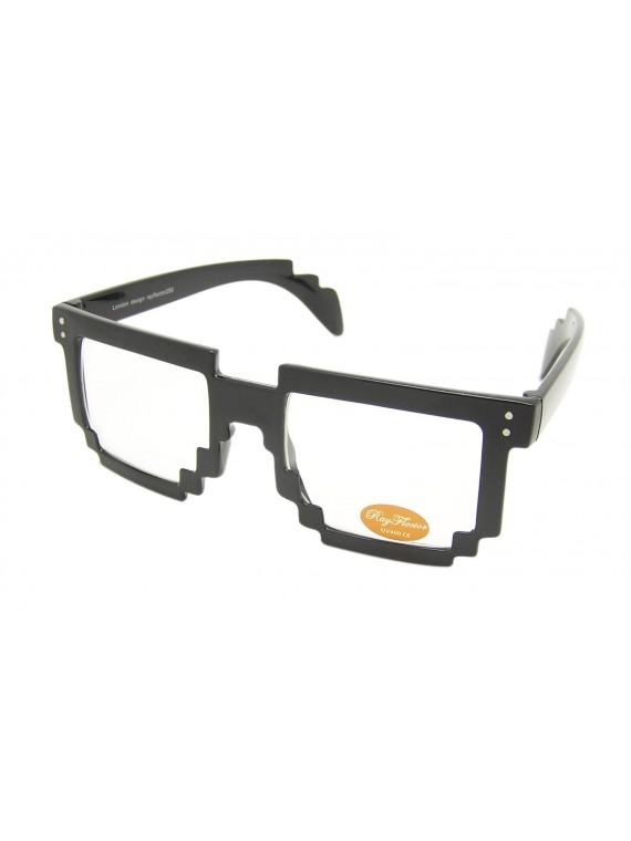 Pixal Frame Clear Lens Sunglasses, Shiny Black