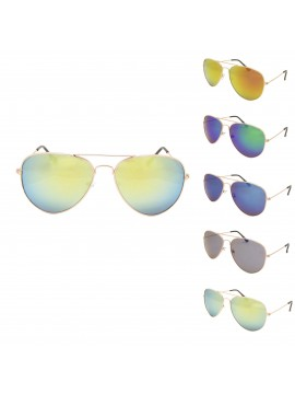Colored Mirrored Lens Aviator Sunglasses, Asst