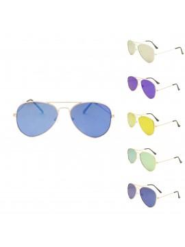 Caleb Flat Lens Aviator Sunglasses, Color Mirrored Lens Asst