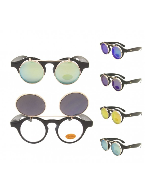 Paco Round Flap Vintage Remade Sunglasses, Color Mirrored Lens Asst