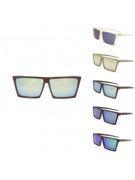 Defo Sqaure Flat Top Sunglasses, 5 Colors Mirrored Lens Asst