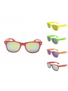 Classic Modern Neon Color Frame Wayfarer Style Sunglasses, Mirrored Lens Asst