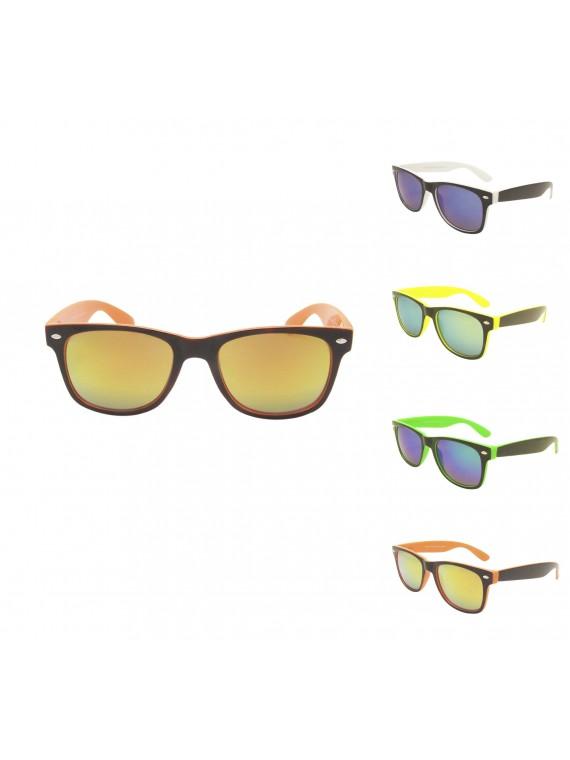 Two Tones Color Frame Mirrored Lens Wayfarer Sunglasses, Asst