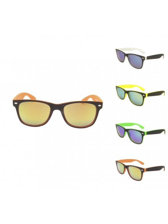 Archie Classic Wayfarer Sunglasses, Mirrored Lens Asst