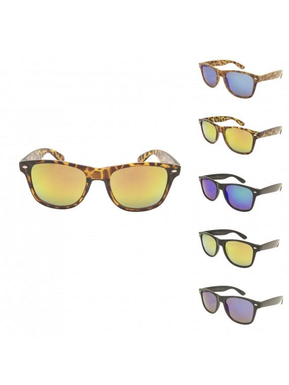Samuel Classic Wayfarer Style Sunglasses, Mirrored Lens Asst