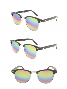 Classic  Retro Clubmaster Sunglasses, Rainbow Mirrored Lens Asst
