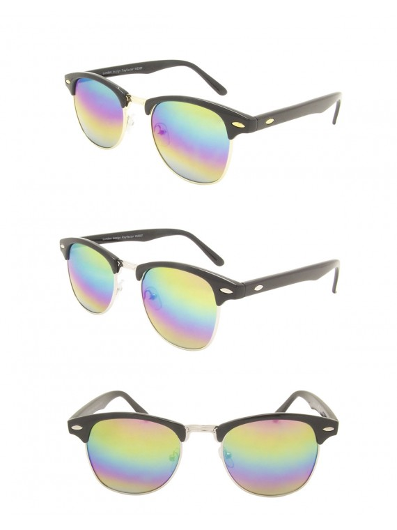 Classic  Retro Clubmaster Sunglasses, Rainbow Mirrored Lens Asst