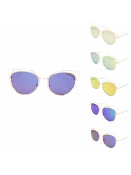 Junifer Fashion Metal Frame Sunglasses, Color Mirrored Lens Asst