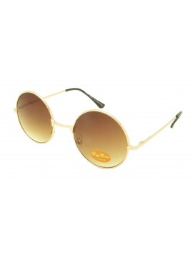 Sabio John Lennon Style Round Sunglasses (Brown Lens And Gold Frame)