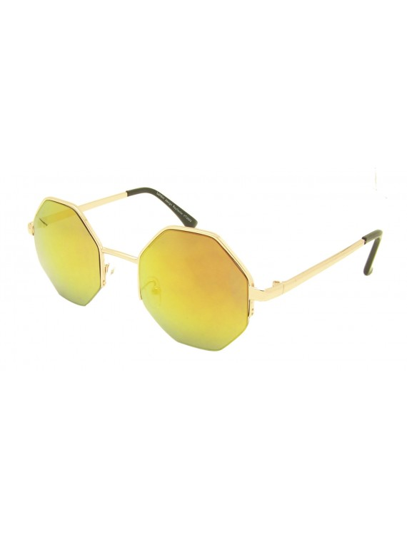 Ria Octagon Fashion Sunglasses, Mirrored Lens Asst