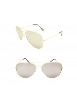 Frio Aviator Sunglasses, Vintage Gold With Silver Mirrored