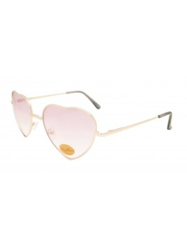 Classic Heart Shape Metal Frame Sunglasses, Pink