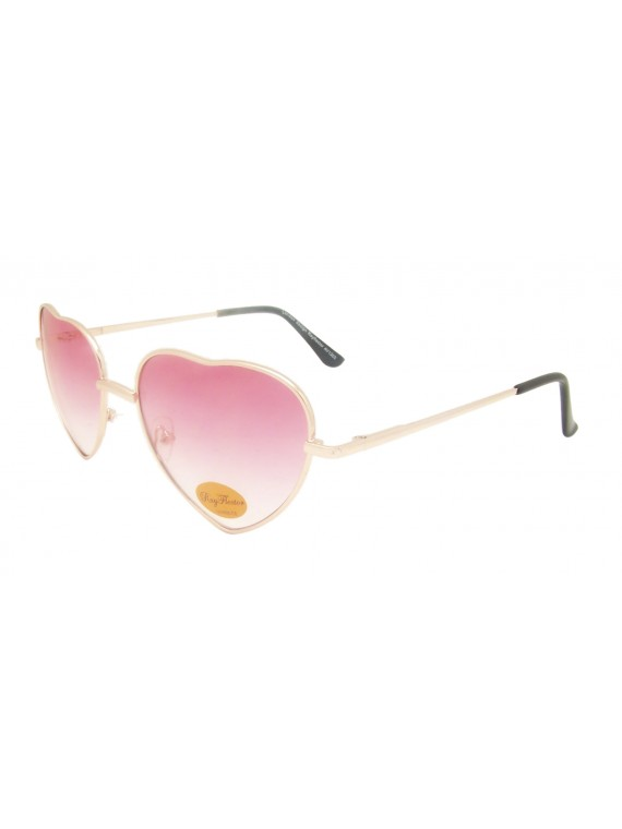 Classic Heart Shape Metal Frame Sunglasses, Red Bottom Yellow
