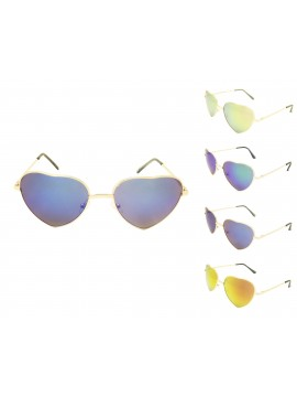 Ekrio Heart Shape Sunglasses, Mirrored Lens Asst