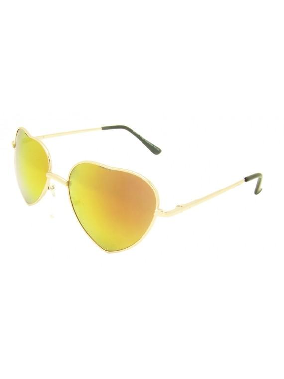 Ekrio Heart Shape Sunglasses, Mirrored Lens Asst