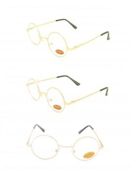 Miro Round John Lenon Style Sunglasses, Clear Lens Asst