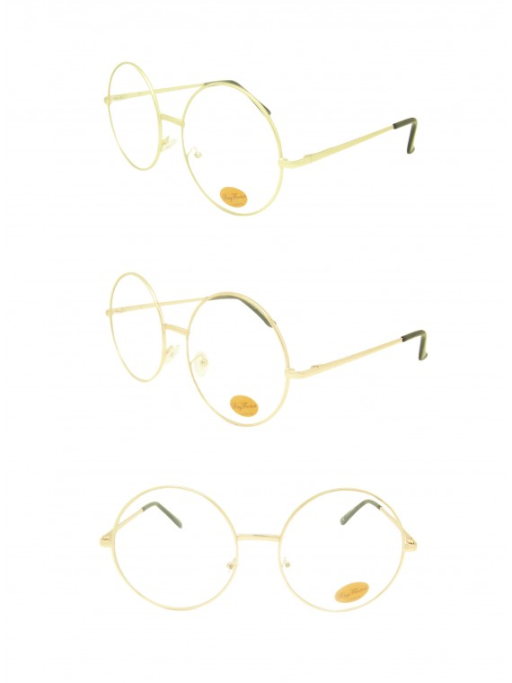 Rami Vintage Remade Metal Round Sunglasses, Clear Lens Asst
