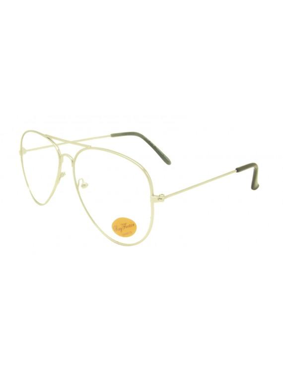Biwa Metal Aviator Sunglasses, Clear Lens