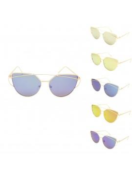 Koivi Metal Frame Fashion Sunglasses, Mirrored Lens Asst