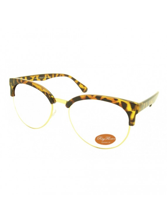 Women Curved Clubmaster Frame Clear Lens, Asst