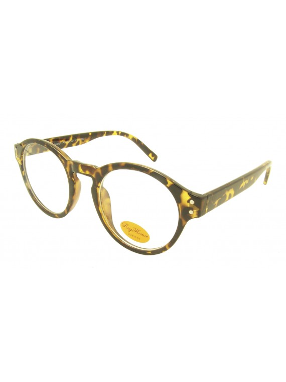 Mie Vintage Round Sunglasses, Clear Lens Asst