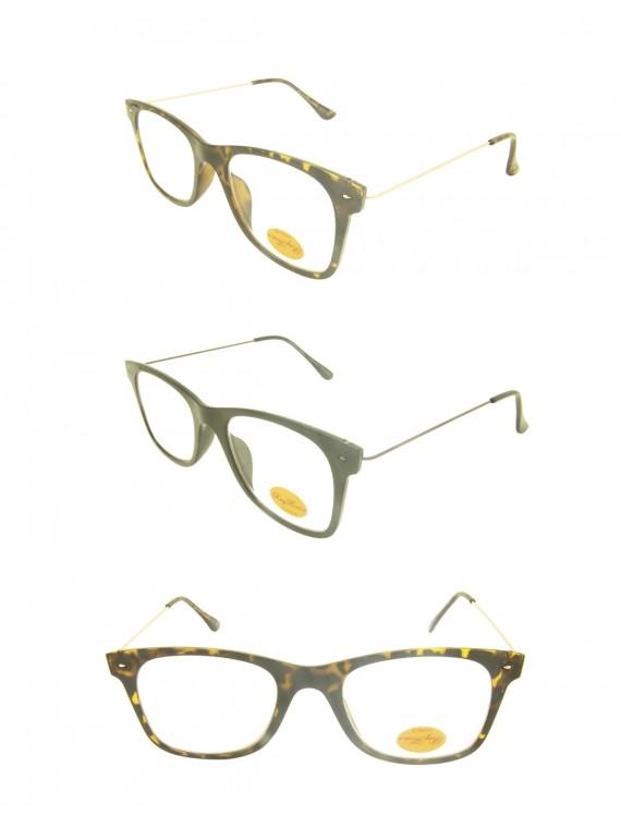 Leway Metal Arms Fashion Sunglasses, Clear Lens Asst