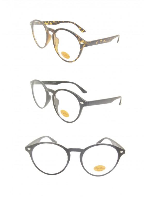 Nikia Round Sunglasses, Clear Lens Asst