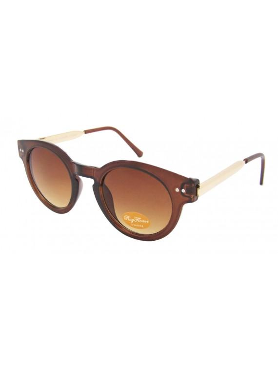 Tita Round Frame Gold Metal Color Arms Sunglasses, Asst