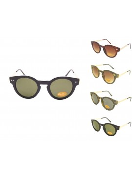 Tita Round Frame Gold Metal Color Arms Sunglasses, Asst