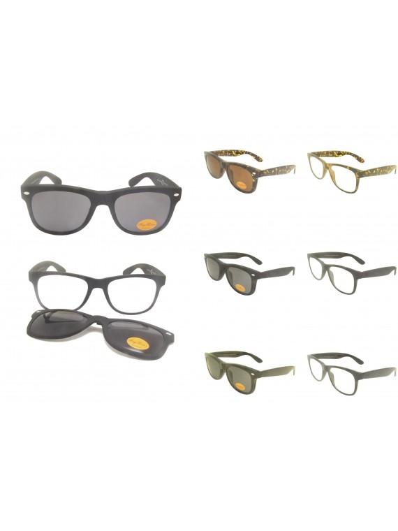 Robbie 2 Ways Mix Used Wayfarer Clip Style Sunglasses, Asst