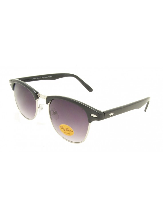 Classic Clubmaster Sunglases,Shiny Black/Silver metal With Smoke Gradient Lens