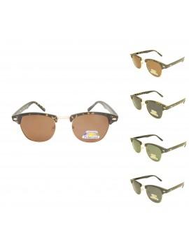 Moti Clubmaster Wayfarer Style Sunglasses, Shiny Frame Polarized Asst