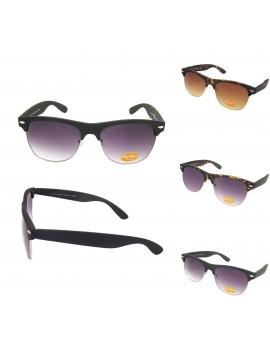 Classic Vintage Style Clubmaster Sunglasses, Rubber Matt Asst (3 Colors)