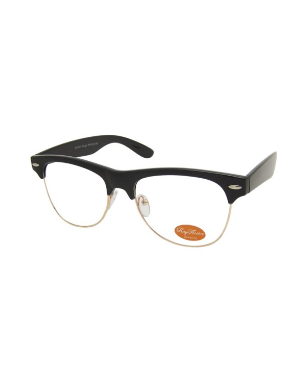 Livia Classic Clubmaster Sunglasses, Shiny Black Clear Lens