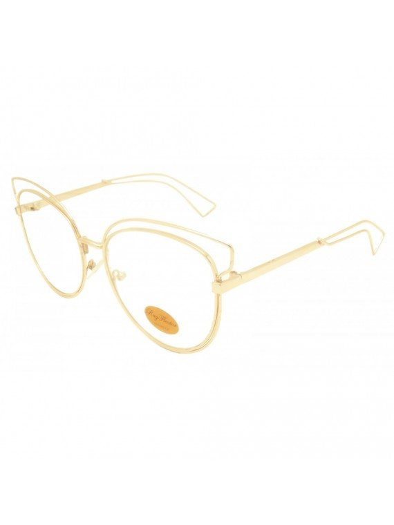 Jacowa Fashion Metal Frame Sunglasses, Gold Frame Clear Lens