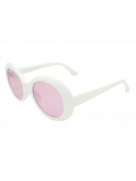 Kurt Corbain Fashion Vintage Sunglasses, Shiny White With Rose Pink Lens