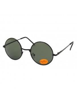 Bailen Round Black John Lennon Style Sunglasses, Green Lens