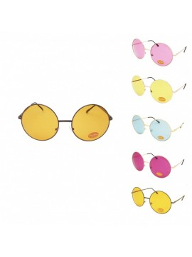 Lien Big Round Colored Lens Sunglasses, Asst