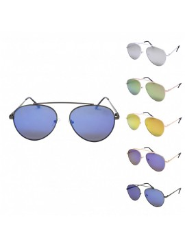 Donie Aviator Sunglasses, Mirrored Lens Asst