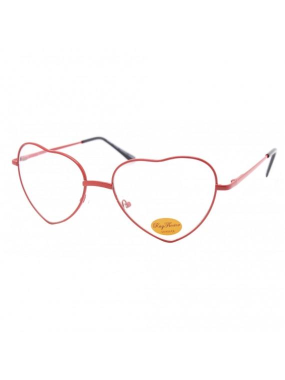 Lovy Heart Shape Metal Frame Sunglasses, Clear Lens Asst