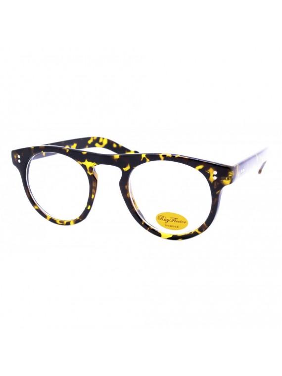 Curi Vintage Round Sunglasses, Clear Lens Asst