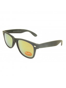 Classic Modern Wayfarer Style Sunglasses, Rubber Matt Black With Smoke Red Mirror