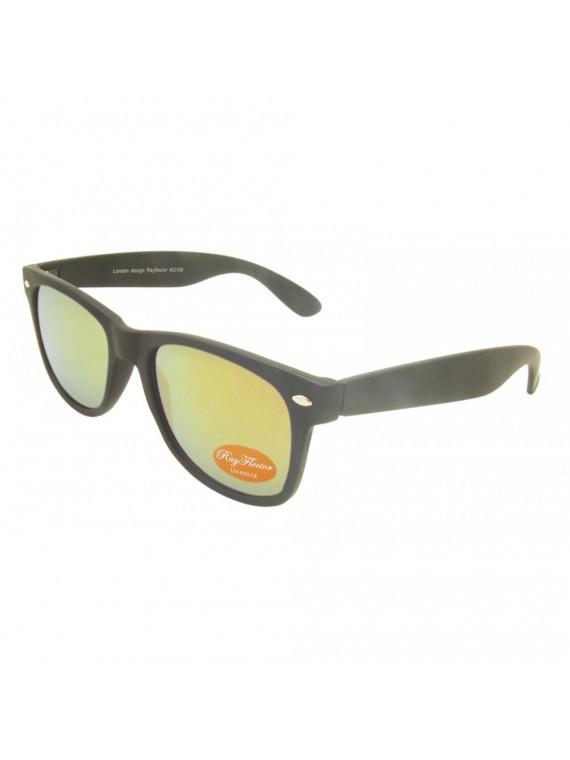 Classic Modern Wayfarer Style Sunglasses, Rubber Matt Black With Smoke Red Mirror
