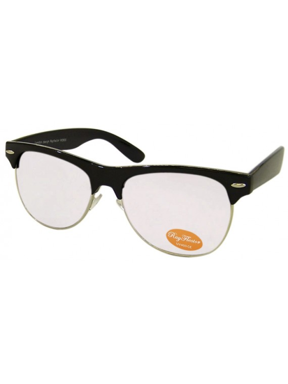Classic Clubmaster Sunglasses, Shiny Black / Silver Metal/ With Silver Mirror