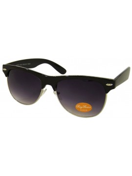 Classic Modern Clubmaster Sunglasses,  Black/Silver Metal