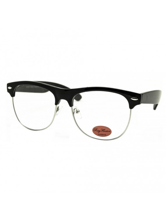 Livia Clubmaster Sunglasses, Black/Silver Frame Clear Lens Asst