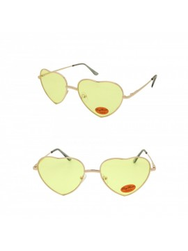 Classic Heart Shape Metal Frame Sunglasses, Light Yellow