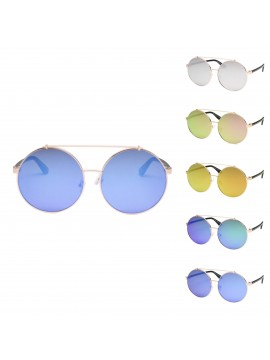 Tiengo Round Vintage Sunglasses, Mirrored Lens Asst