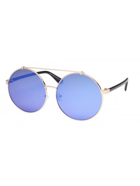 Tiengo Round Vintage Sunglasses, Mirrored Lens Asst